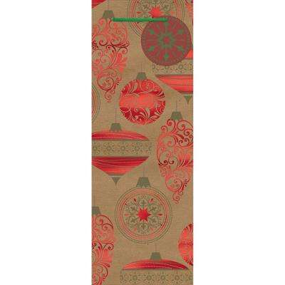 14 in. x 5 in. x 5 in. Ornaments Hot Stamped Kraft Bottle Bags (18-Pack)