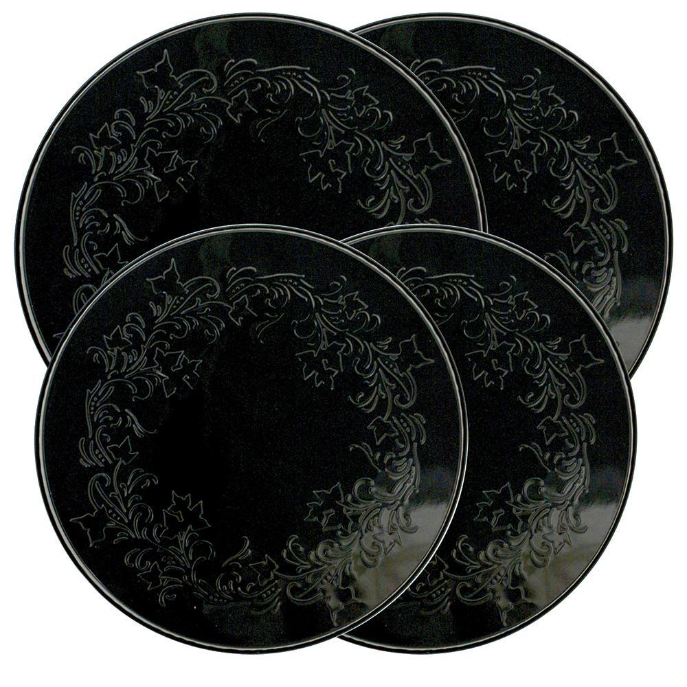 Round Burner Kovers Ivy in Embossed Black