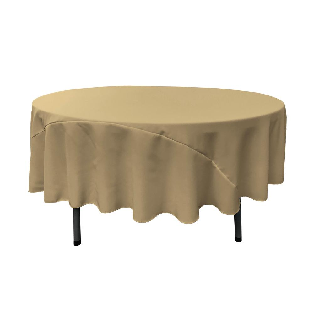 Ordinaire LA Linen 90 In. Round Taupe Polyester Poplin Tablecloth