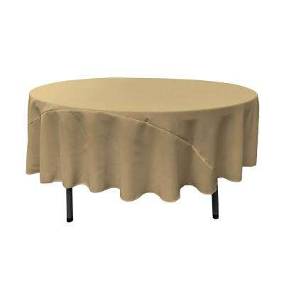 90 in. Round Taupe Polyester Poplin Tablecloth
