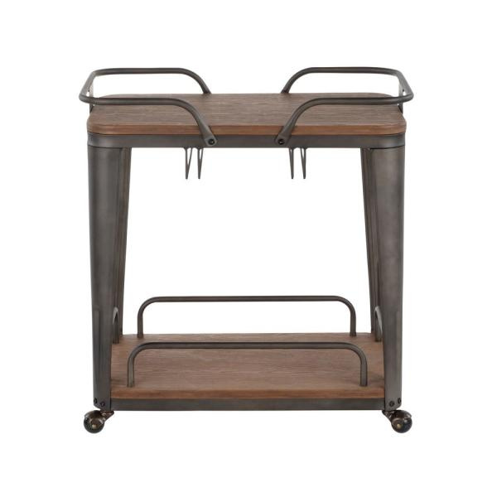 Lumisource Oregon Antique Metal and Espresso Wood Bar Cart BTC-OR AN+E