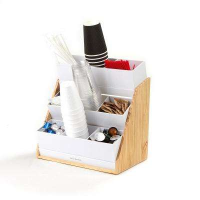 9-Compartment Condiment Organizer with Acrylic Drawers and Wood Base, White