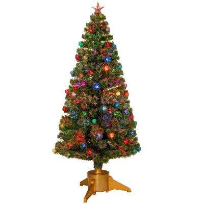 6 ft fiber optic fireworks artificial christmas tree with ball ornaments - 6 Christmas Tree