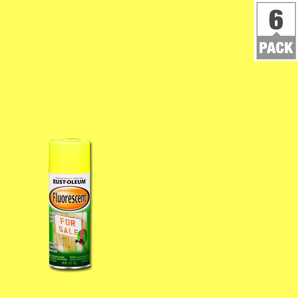 Rust Oleum Specialty 11 Oz Yellow Fluorescent Spray Paint 6 Pack 1942830 The Home Depot