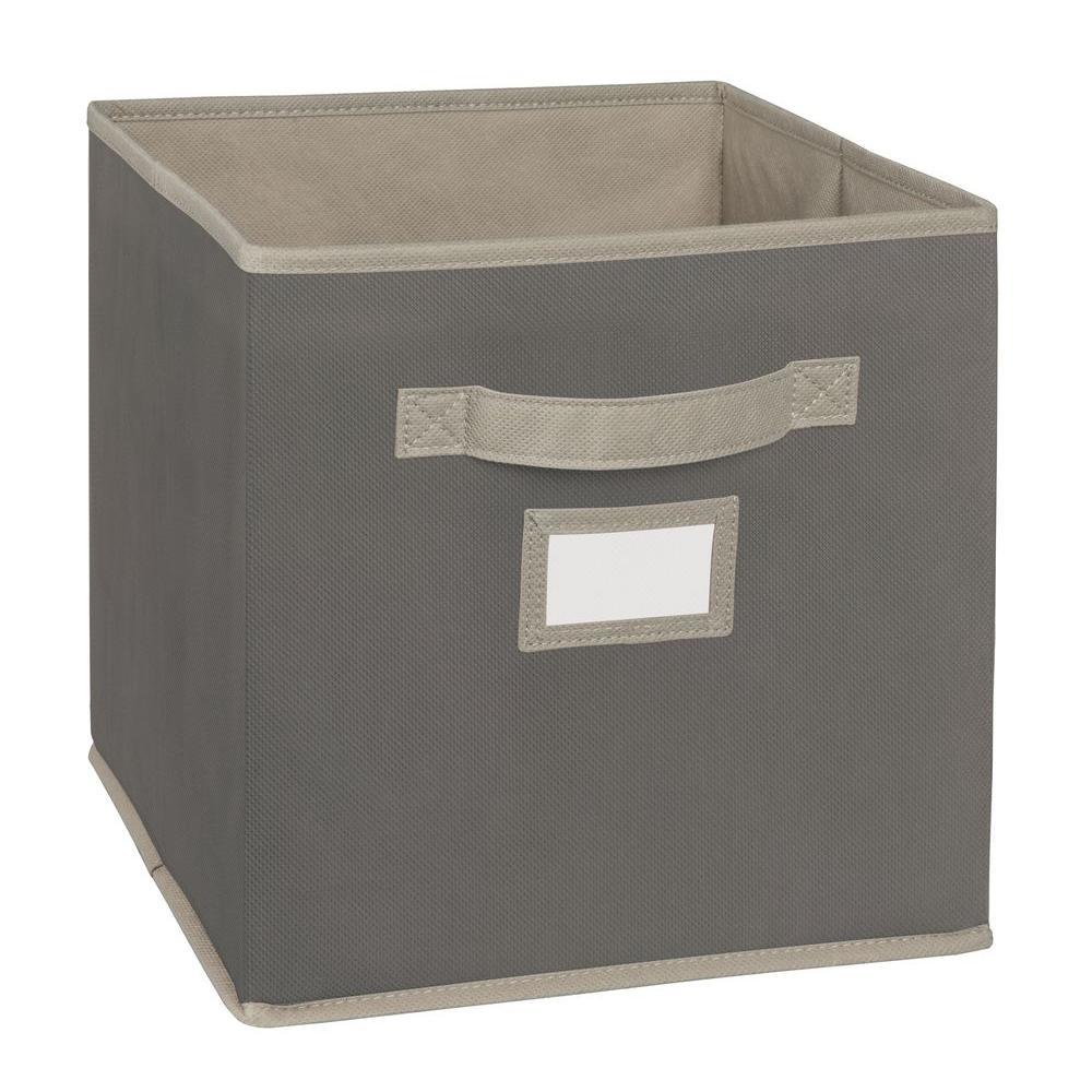 11 in. D x 11 in. H x 11 in. W Grey Fabric Cube Storage Bin