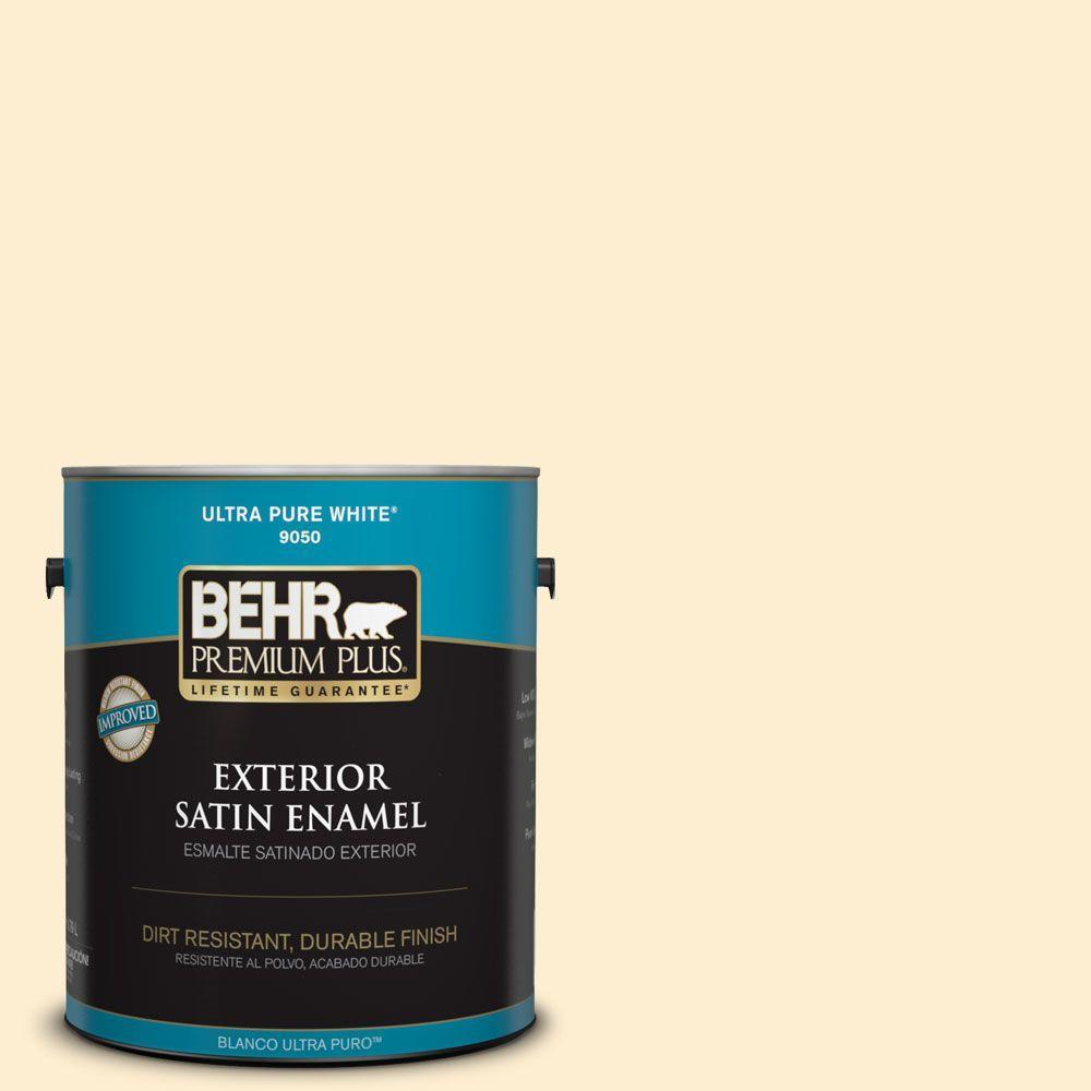 BEHR Premium Plus 1-gal. #300A-1 Opal Cream Satin Enamel Exterior Paint