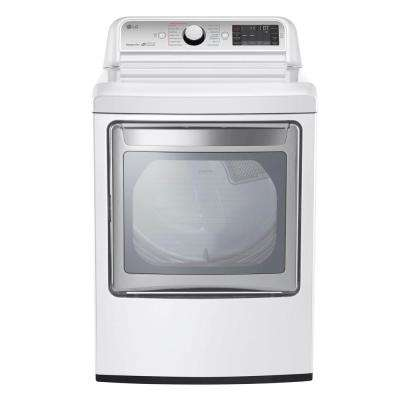 7.3 cu. ft. Ultra Large Smart Front Load Gas Dryer with EasyLoad Door, TurboSteam, and Wi-Fi Enabled in White