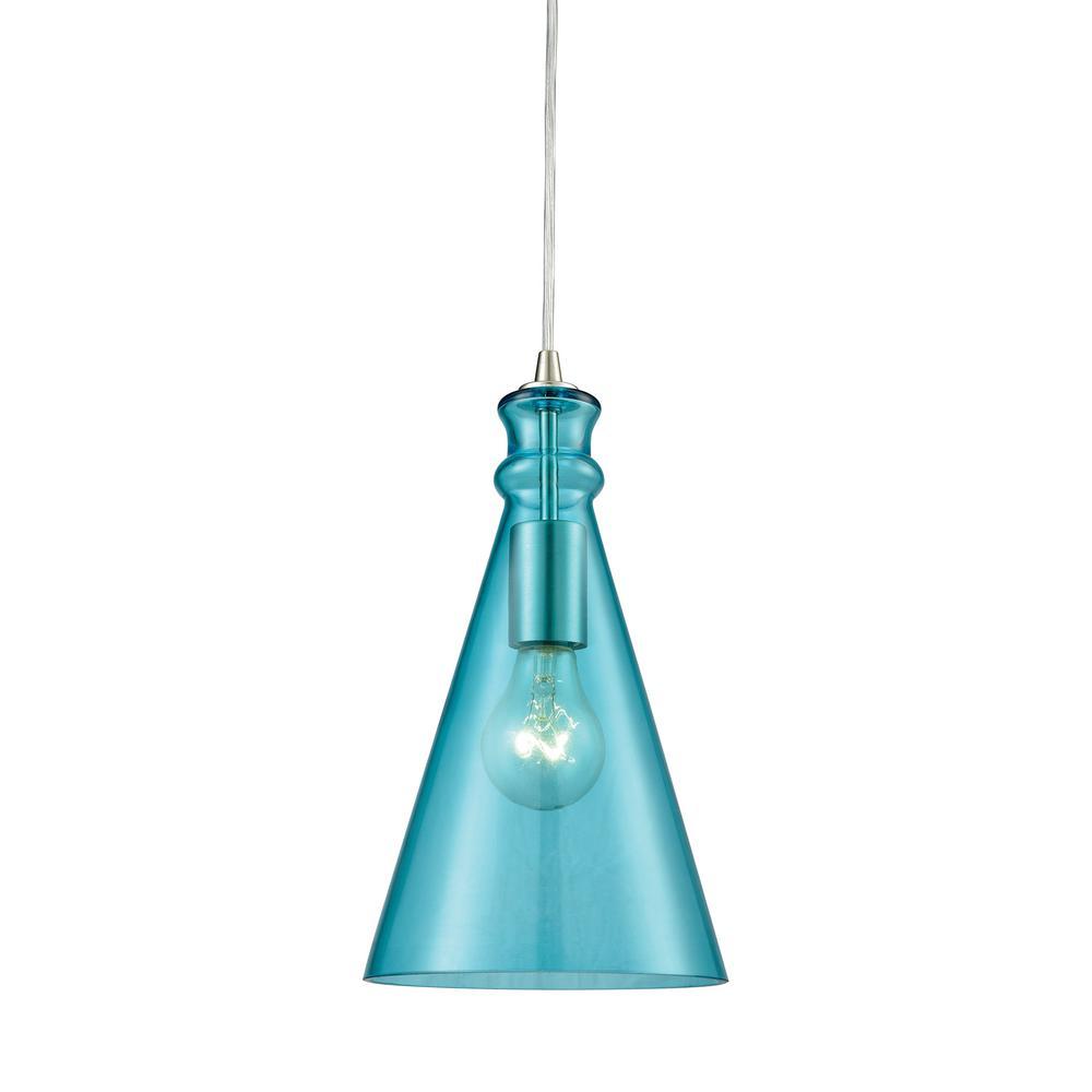 Modern globe teal pendant lights lighting the home depot parson 1 light satin nickel with aqua glass pendant aloadofball Choice Image