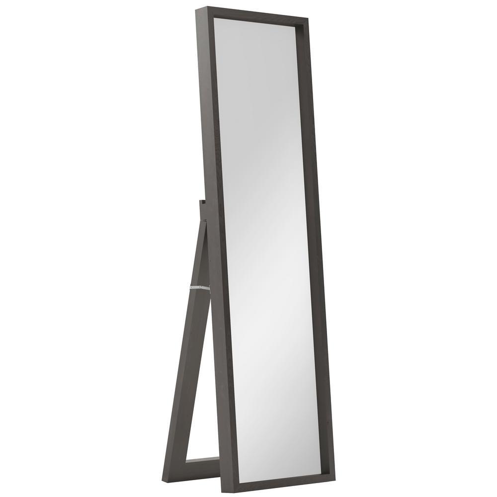 Kenna Dark Brown Standing Shadow Box Decor Mirror