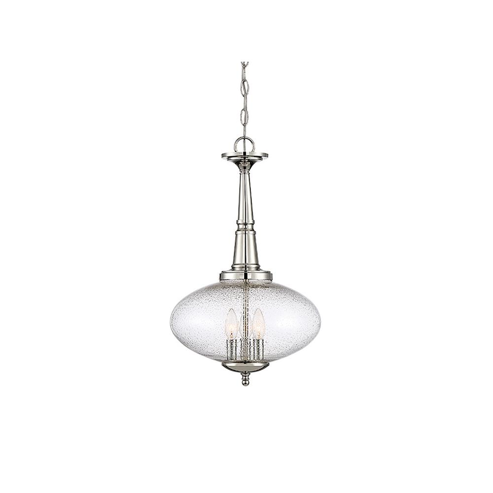 Filament Design 3-Light Polished Nickel Pendant with Clear Seeded Glass