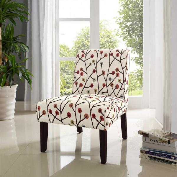Floral Accent Chairs.Dorel Living Teagan Armless Floral Accent Chair Fa164 The Home Depot