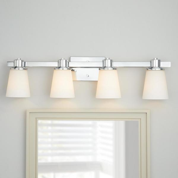 Home Decorators Collection 4 Light Chrome Bath Vanity Light With Bell Shaped Etched White Glass 15344 The Home Depot