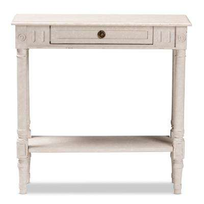 Ariella Whitewashed Small Console Table