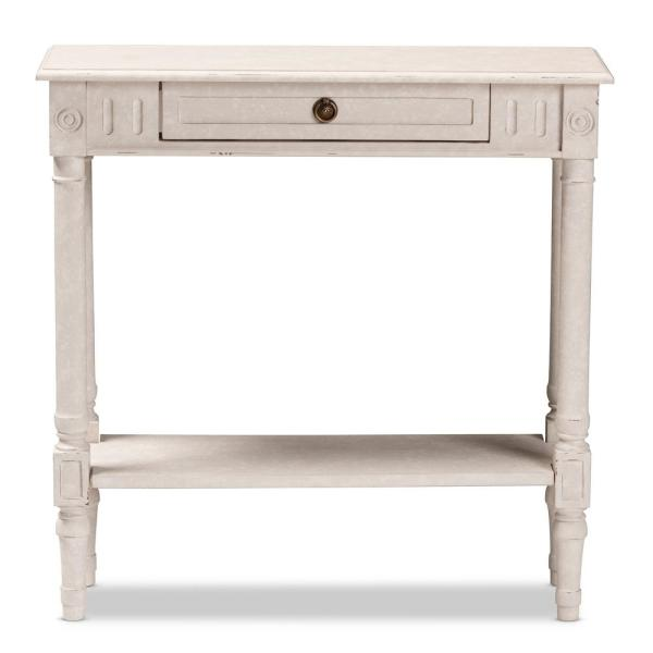 Baxton Studio Ariella 32 In White Wash Standard Rectangle Wood Console Table With Drawers 147 8188 Hd The Home Depot