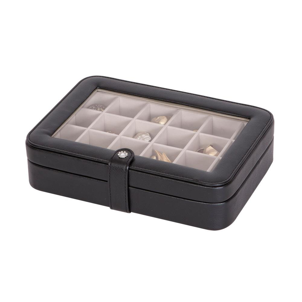 Mele Elaine Black Faux Leather Jewelry Box0055062M The Home Depot