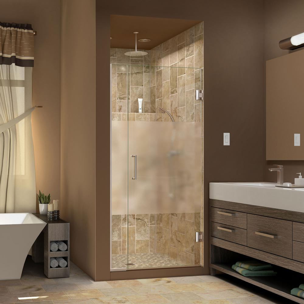 DreamLine Unidoor Plus 33 to 33-1/2 in. x 72 in. Semi-Frameless Hinged Shower Door with Half Frosted Glass in Brushed Nickel