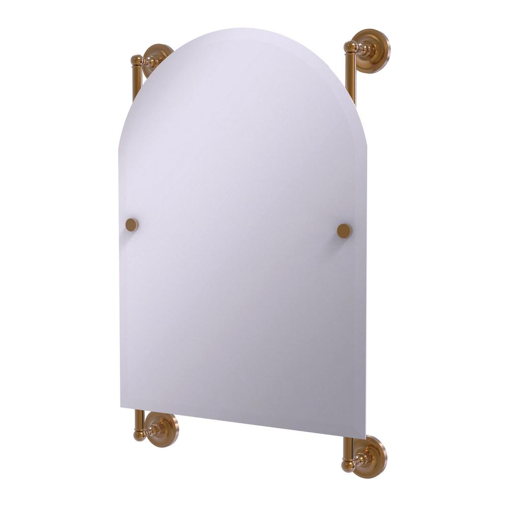 Allied Brass Prestige Regal 21 in. x 29 in. Single Arched Top Frameless Rail Mounted Mirror in Brushed Bronze