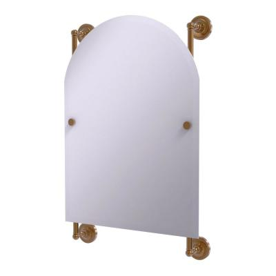 Prestige Regal 21 in. x 29 in. Single Arched Top Frameless Rail Mounted Mirror in Brushed Bronze