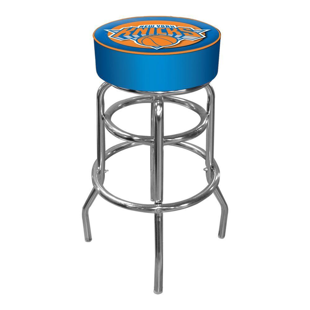 New York Knicks NBA 31 in. Chrome Padded Swivel Bar Stool