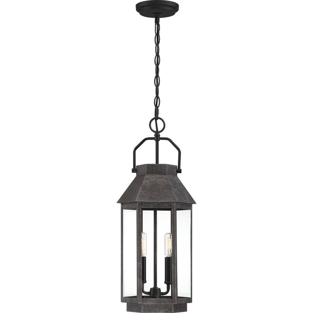 Campbell 2-Light Black Outdoor Pendant Light