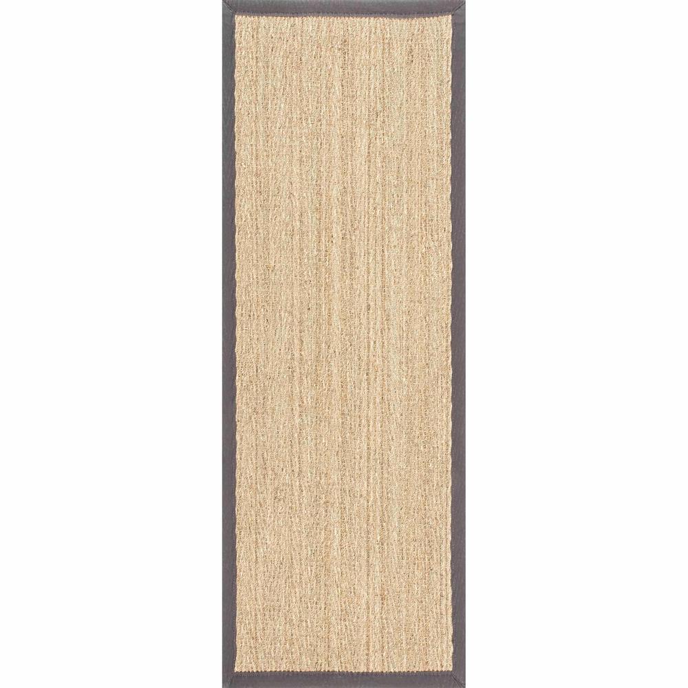 Larnaca Seagrass Herringbone Dark Gray 2 ft. 6 in. x 6 ft. Indoor/Outdoor Runner Rug
