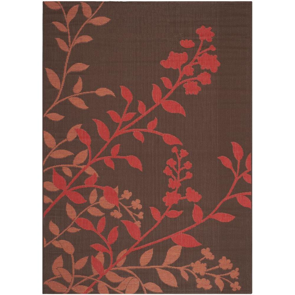 Courtyard Chocolate/Red 5 ft. 3 in. x 7 ft. 7 in.