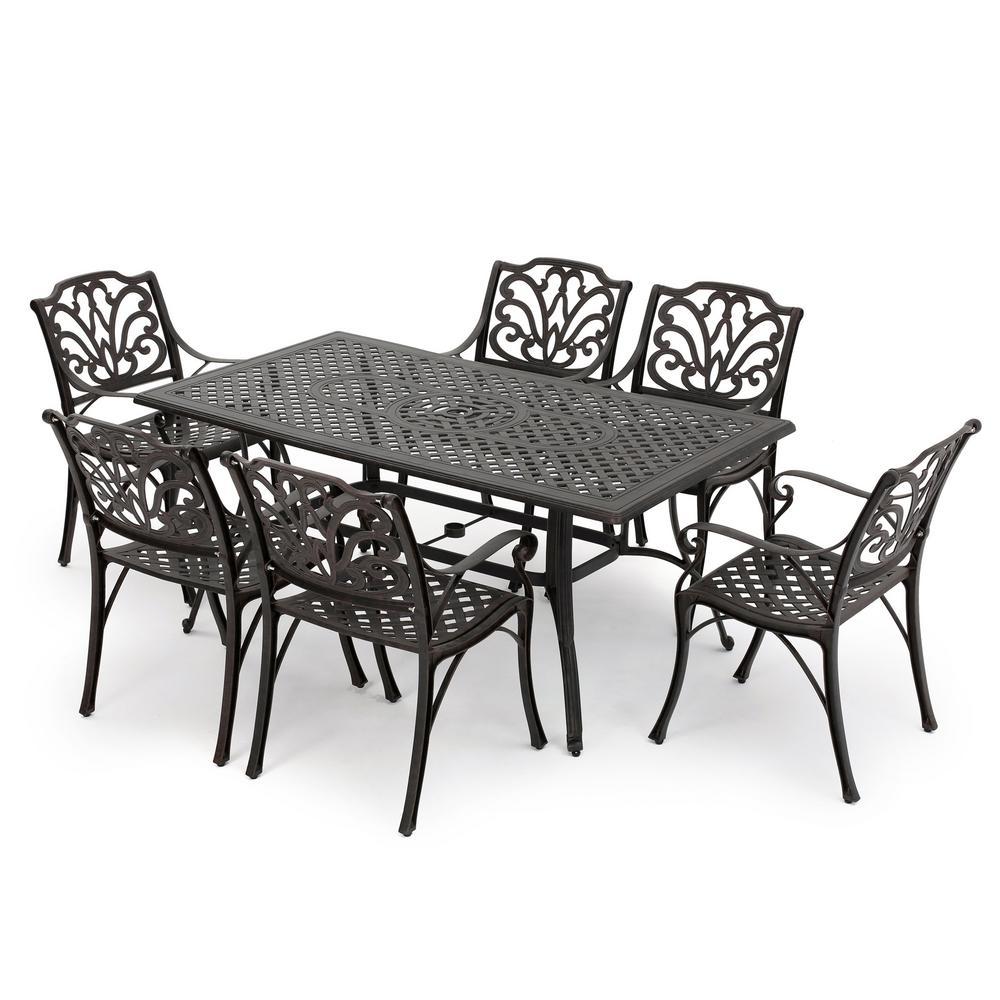 Yaretzi 7-Piece Aluminum Rectangular Outdoor Dining Set