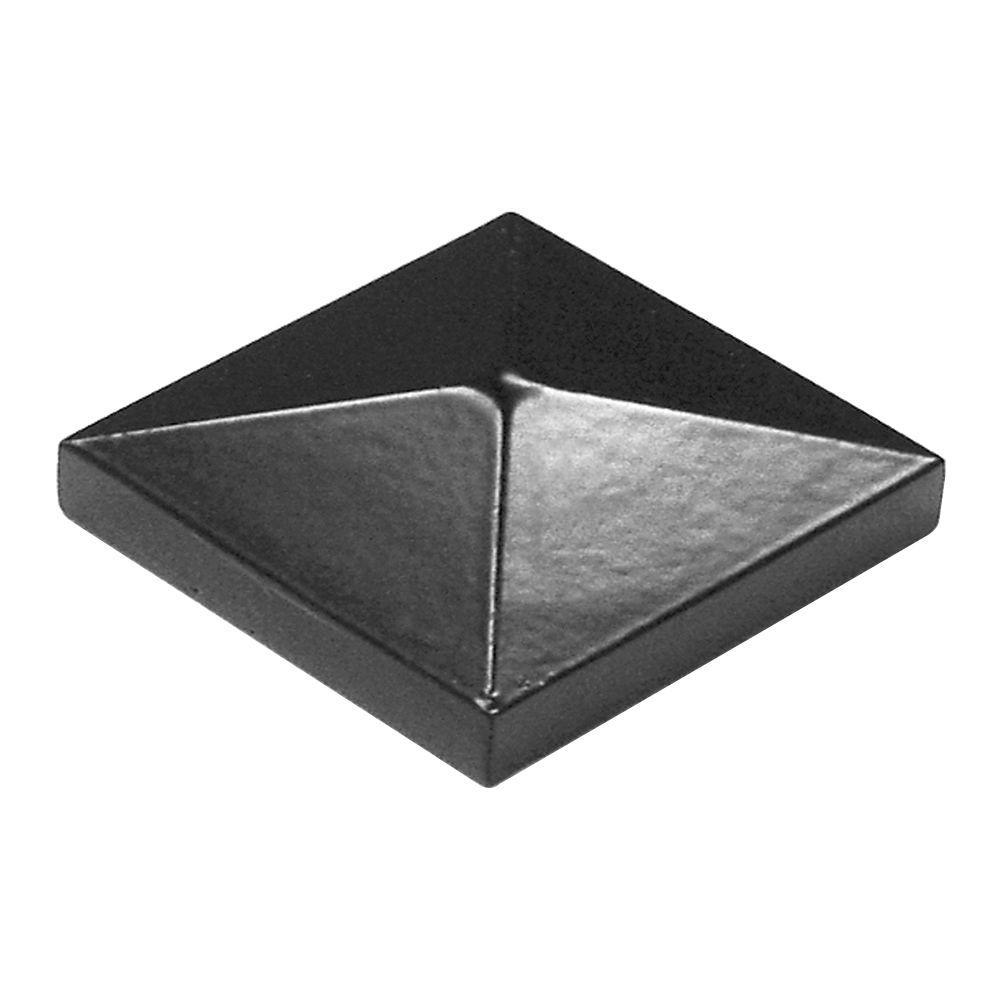 TuffBilt 2 in. x 2 in. Black Aluminum Pyramid Post Top