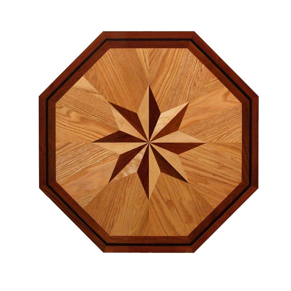 Pid floors 3 4 in thick x 24 in wide octagon medallion for Wood floor medallion designs