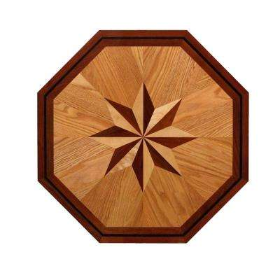 3/4 in. Thick x 36 in. Wide Octagon Medallion Unfinished Decorative Wood Floor Inlay MT002