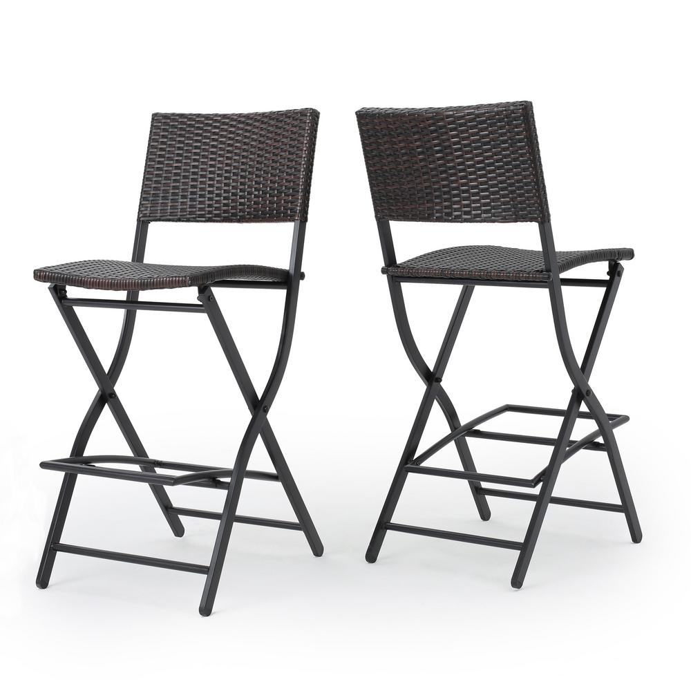 Surprising Noble House Margarita Foldable Wicker Outdoor Bar Stool 2 Pack Gmtry Best Dining Table And Chair Ideas Images Gmtryco