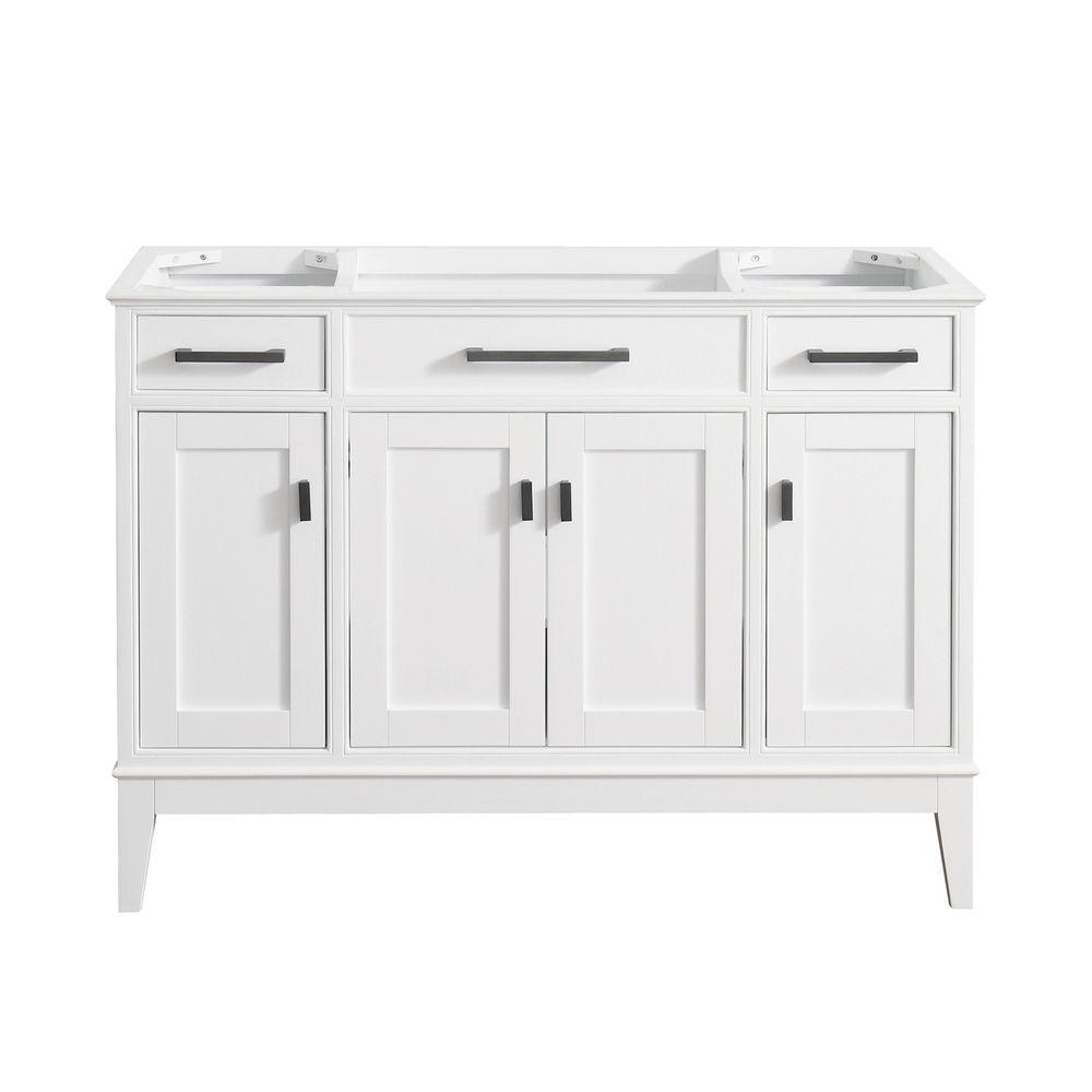 Madison 48 in. W x 21 in. D x 34 in. H Vanity Cabinet in White