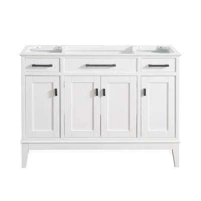 Madison 48 in. W x 21 in. D x 34 in. H Vanity Cabinet in White