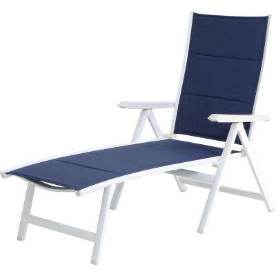 Everson in Navy/White Sling Outdoor Chaise Lounge