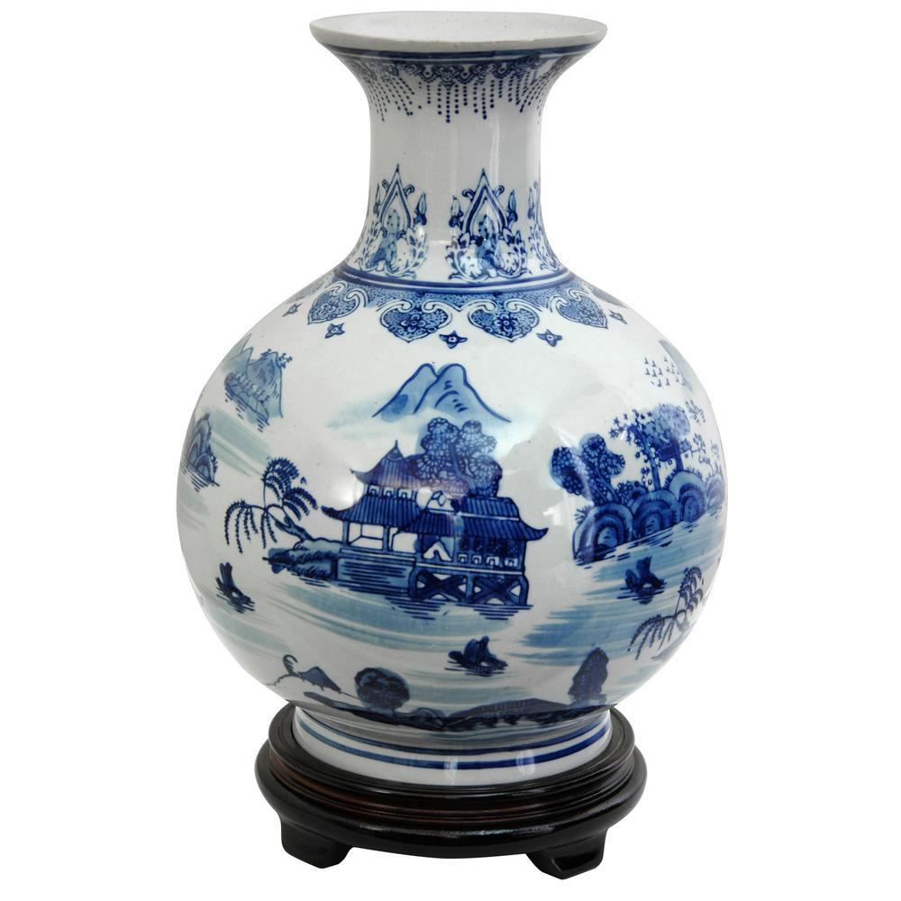 Oriental Furniture 12 in. Porcelain Decorative Vase in Blue