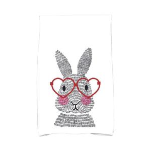 16 inch x 25 inch Red What's Up Bunny Holiday Animal Print Kitchen Towel by