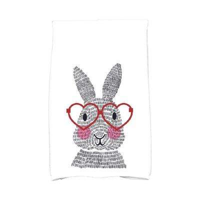 16 in. x 25 in. Red What's Up Bunny Holiday Animal Print Kitchen Towel