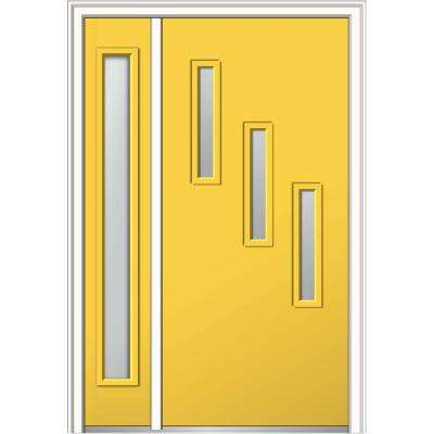 48 in. x 80 in. Davina Frosted Glass Right-Hand Inswing 3-Lite Modern Painted Steel Prehung Front Door with Sidelite