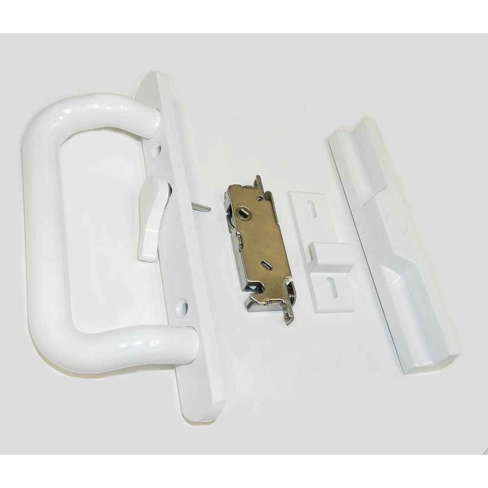 White Sliding Door Handle and Lock Set