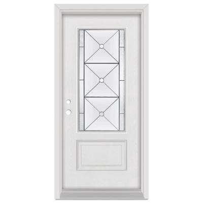 32 in. x 80 in. Bellochio Right-Hand Patina Finished Fiberglass Mahogany Woodgrain Prehung Front Door Brickmould