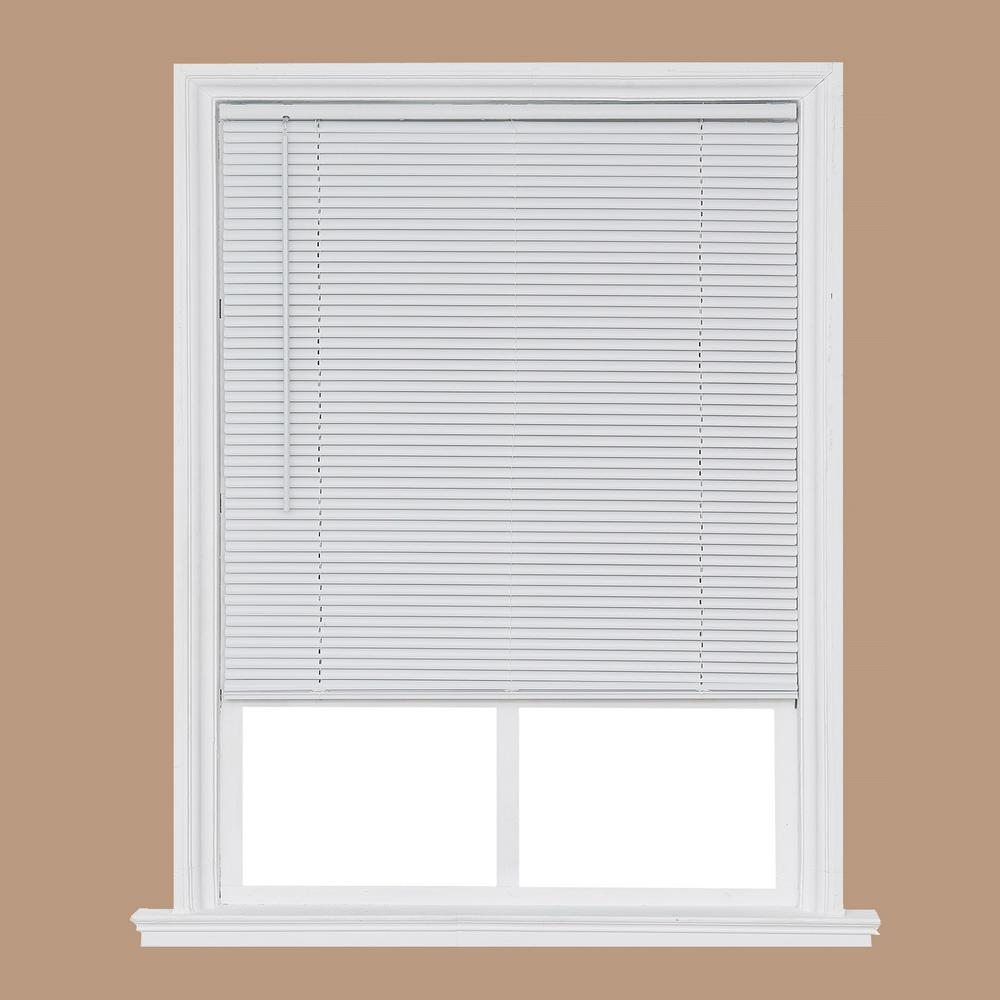 Home Basics White Cordless 1 In Room Darkening Vinyl Mini Blind 63 In W X 64 In L Ccdrd6664 63 The Home Depot