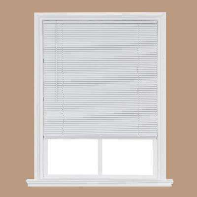 Cut-to-Size White Cordless Room Darkening Privacy Slats Vinyl Blinds with 1 in. Slats 70 in. W x 64 in. L