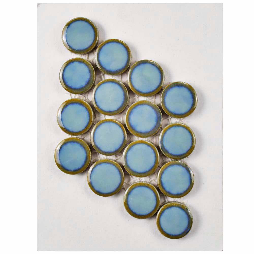 Hudson Penny Round Marine Porcelain Mosaic Tile - 3 in. x 4 in. Tile Sample