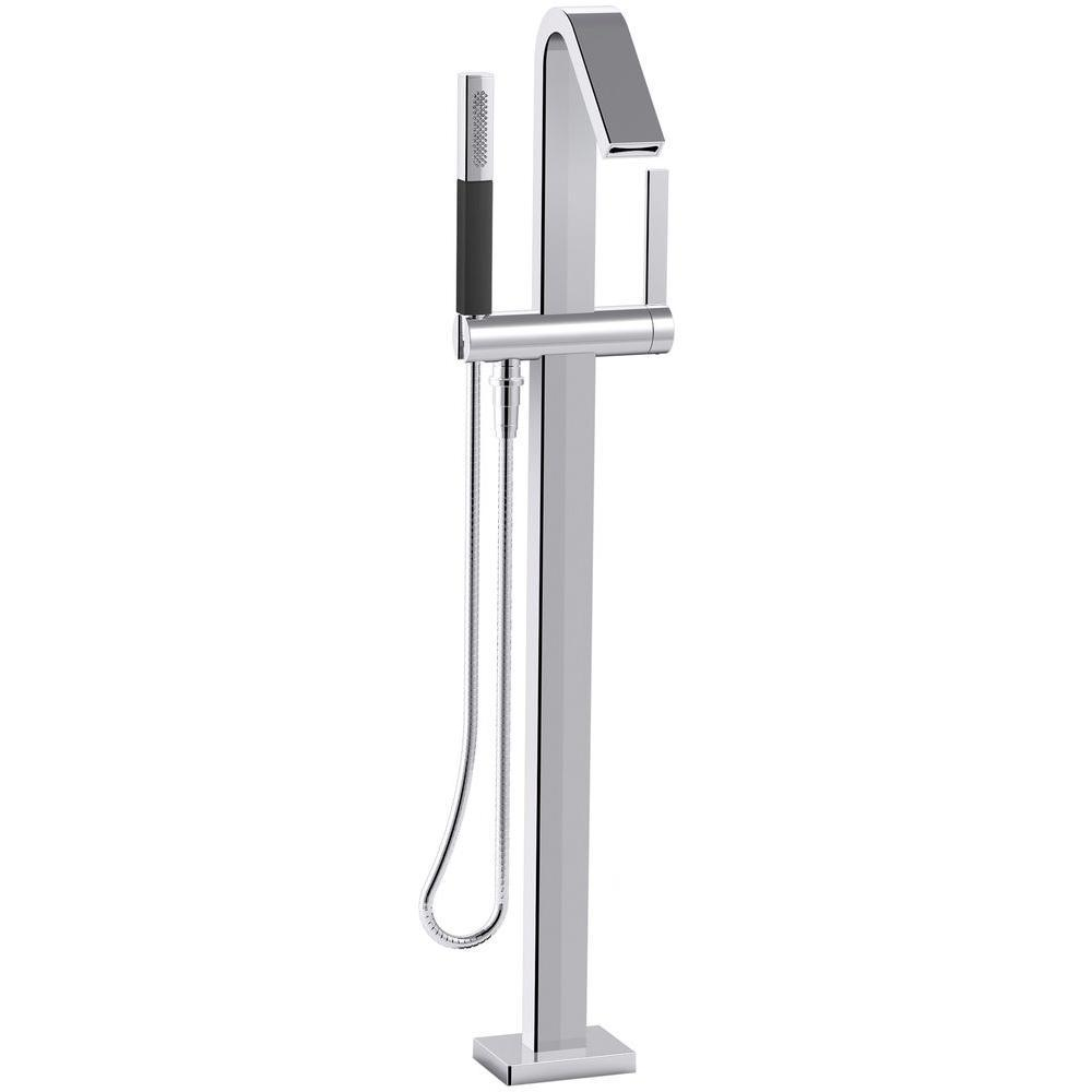 KOHLER Loure 1-Handle Floor Mount Bath Filler with Hand Shower in Polished Chrome