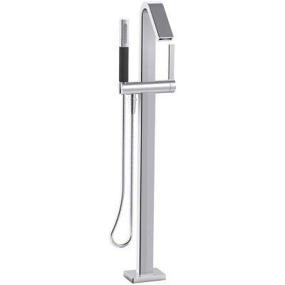 Loure 1-Handle Floor Mount Bath Filler with Hand Shower in Polished Chrome