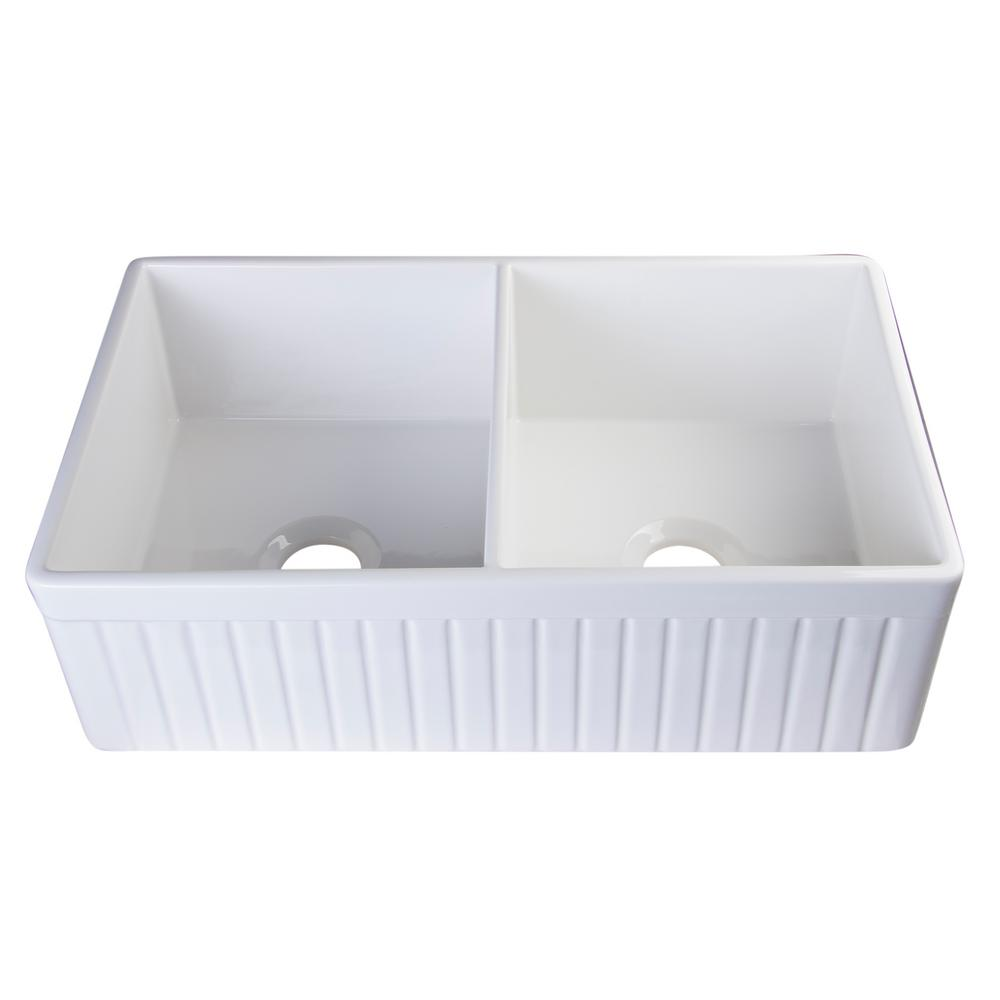 ALFI BRAND Fluted Farmhouse Apron Fireclay 32 in. Double Basin Kitchen Sink in White