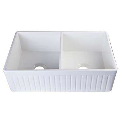 Fluted Farmhouse Apron Fireclay 32 in. Double Basin Kitchen Sink in White