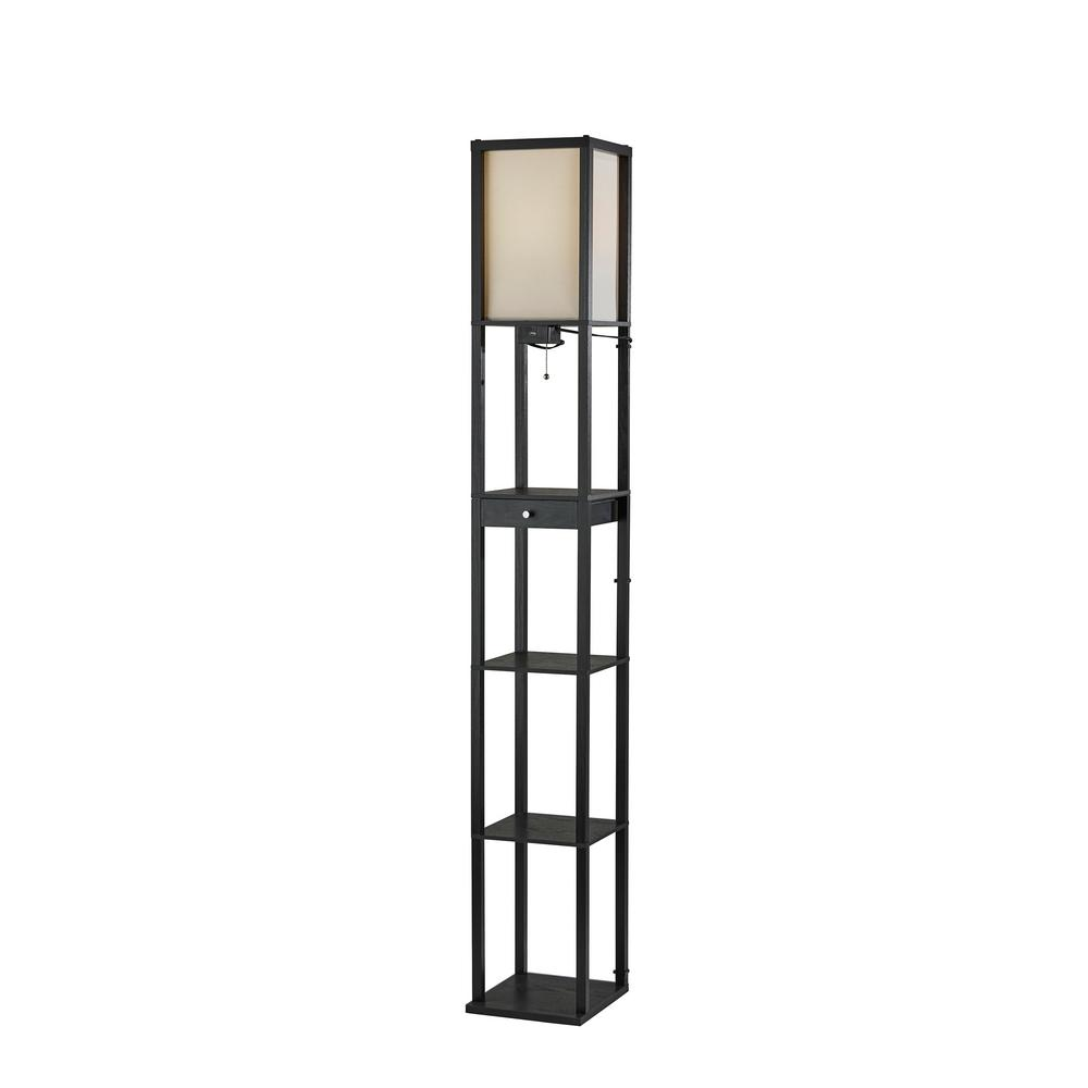 Adesso 72 in. Black Wood Shelf Floor Lamp with 1-Drawer and 3-Shelves
