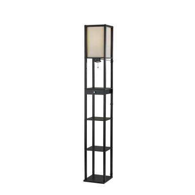 72 in. Black Wood Shelf Floor Lamp with 1-Drawer and 3-Shelves
