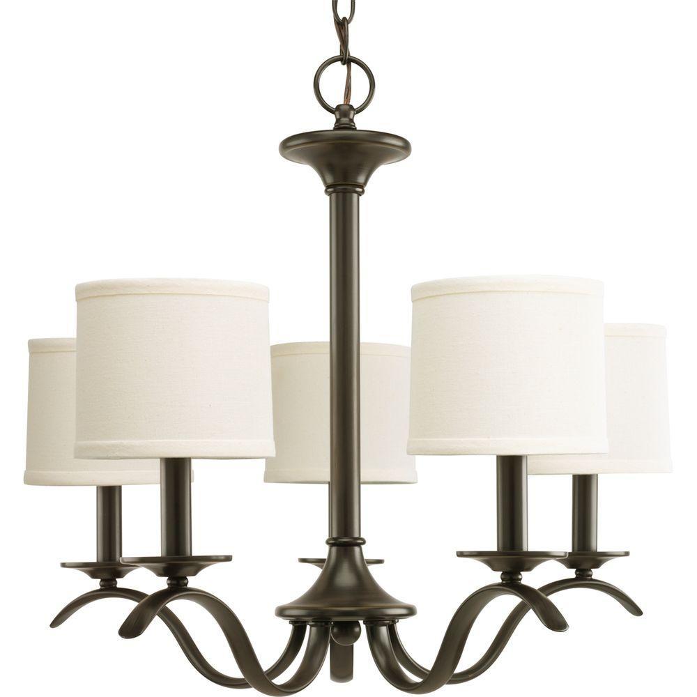 Inspire 5-Light Antique Bronze Chandelier with Beige Linen Shade